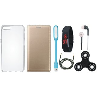 Oppo F1 Plus Leather Flip Cover with Spinner, Silicon Back Cover, Digital Watch, Earphones, USB LED Light and AUX Cable