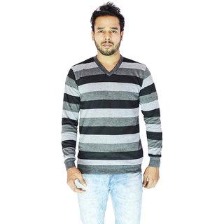 705f7d0cd172c Buy DEPLO Grey-Black V Neck Men s Sweater Online - Get 74% Off