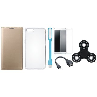 Oppo F3 Premium Leather Cover with Spinner, Silicon Back Cover, Tempered Glass, USB LED Light and OTG Cable