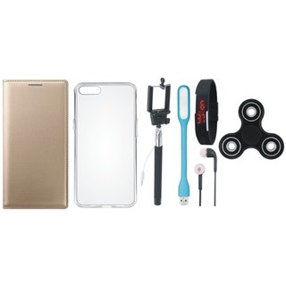 Vivo Y66 Leather Flip Cover with Spinner, Silicon Back Cover, Selfie Stick, Digtal Watch, Earphones and USB LED Light