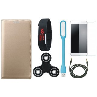 Oppo F1s Leather Flip Cover with Free Spinner, Digital LED Watch, Tempered Glass, LED Light and AUX Cable