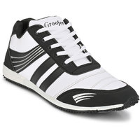 Groofer Men's White and Black Sport Shoes