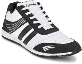Groofer Men's White and Black Sport Shoes