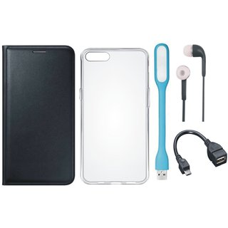Oppo F1s Premium Leather Cover with Silicon Back Cover, Earphones, USB LED Light and OTG Cable