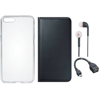 Vivo Y66 Premium Leather Cover with Silicon Back Cover, Earphones and OTG Cable