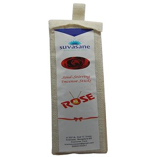 Suvasane Agarbatti Rose Fragrance 180 sticks per pack Black 9 sticks in jute bag