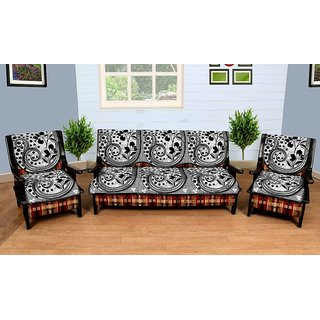 Manvi Creations Latest Floral Design Black Silver Sofa Cover