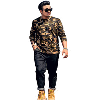 Mens full sleeved camouflage t shirt