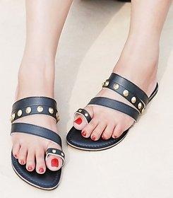 Studded Flats - Black