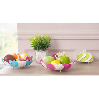 Nueva Kitchen Multipurpose Lotus Shape Foldable Vegetable And Fruit Basket Storage