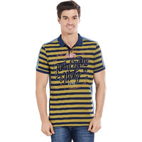 BONATY Mustard  100 Cotton Striped Peter Pan Collar Half Sleeves T-Shirt For Men
