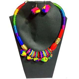 Beautiful Multicolor Handmade Garba Special Stylish Pom Pom Jewelry Necklace Sets For Women- Free Size