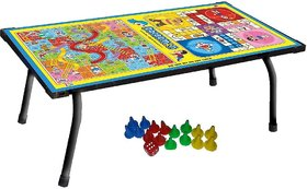 KIDS BED STUDY TABLE WITH SNAKE  LADDER GAME FOR MULTIPURPOSE USE.