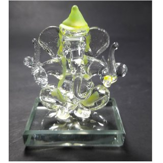 Double Side Face Yellow Shade Transparent Ganesh Idols for Car Dashboard-(Mini Small Size)