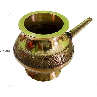 Decorated Handmade Pooja Golden Karwa 3 Inches (Small Size)