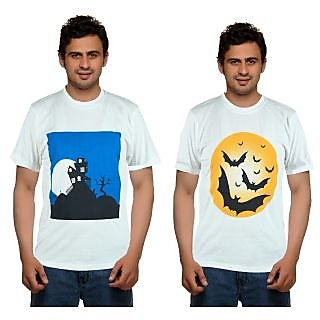 Combo Of 2 Blue Port Printed Round Neck T Shirt For Men(White)