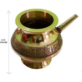 Decorated Handmade Pooja Golden Karwa 3.75 Inches (Medium)