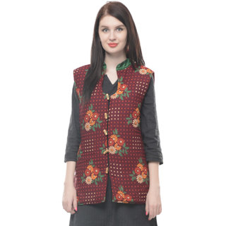 Lavennder multi color flower printed quilted winter jacket