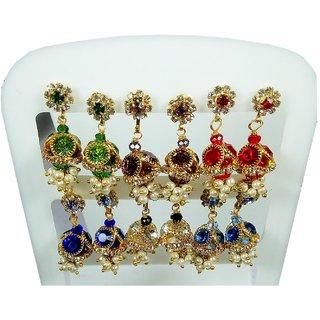 Colorful Fancy Beads Stone Earrings Set of  6, Earring for Girls, Women Earrings