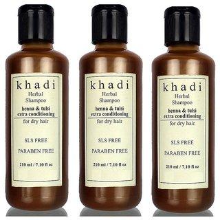 Khadi Henna Tulsi Extra Conditioning Shampoo- Sls & Paraben Free 210 ML (Pack of 3)