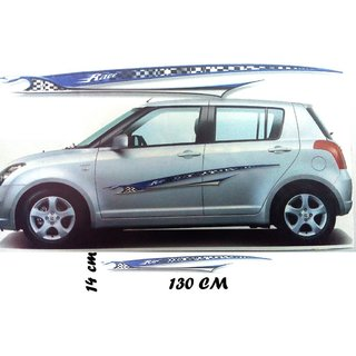 1 Set Car Graphics 2 Side Decal Body Blue Sticker for UNIVERSAL CARS