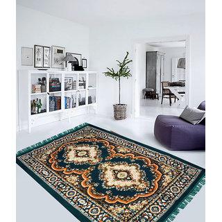 Home Castle Velvet Green Handloom Durrie ( 5 X 7 Feet) HC-CPT-100