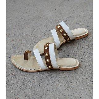 Studded Flats - Brown