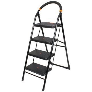 BRANCO Folding Ladder with Wide Steps - Milano 4 Steps-(7 Year Warranty Made In India)