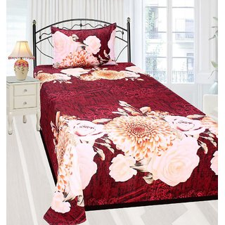 Amayra Poly-cotton 3D Printed Single Bedsheet With 1 Pillow Cover, Multi Floral