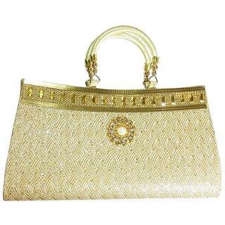Buy Fashionable Stylish Golden Stone Work Party Ware Clutch Handbag