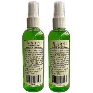 Khadi Mint And Cucumber Face Freshener Spray, 100 ML (Pack of 2)