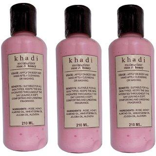 Khadi Rose & Honey Moisturizer 210 ML  (Pack of 3)