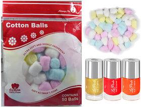 Multicolor Nail Paint With Soft Cotton Balls C488