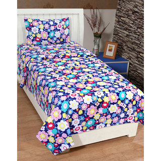 Amayra Polycotton 3D Printed Single Bedsheet With 1 Pillow Cover, Multi Floral