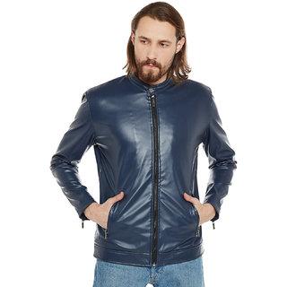 Stylogue Nevy Blue Pu Leather Jacket
