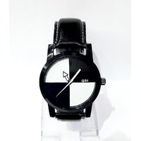 QSI Round Dial Black Leather Strap Quartz Watch For Men