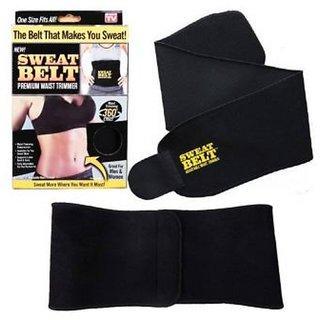 Unisex Sweat Waist Trimmer Fat Burner Belly Tummy Yoga Wrap Black Exercise Body Slim look Belt Free Size SWEAT BELT)