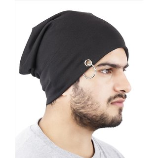 Buy Beanie Stylish Cap Beanie Slouchy cap hat with Ring thin winter fall Hat  (Color Black) Online - Get 70% Off e80bedcaab8