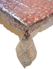 BcH 4 Seater Self Design 3D Centre Table Cover with Golden Lace (40X60) Inch