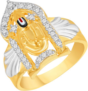 VK Jewels Tirupati Balaji Gold and Rhodium Plated Alloy Ring for Men Made With Cubic Zirconia - FR2576G [VKFR2576G18]