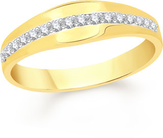 VK Jewels Delicate Gold and Rhodium Plated Alloy Ring for Men Made With Cubic Zirconia - FR2075G [VKFR2075G18]