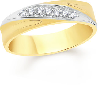 VK Jewels Cross Stone Gold and Rhodium Plated Alloy Ring for Men Made With Cubic Zirconia - FR2077G [VKFR2077G18]