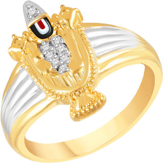 VK Jewels Tirupati Balaji Gold and Rhodium Plated Alloy Ring for Men Made With Cubic Zirconia - FR2567G VKFR2567G18