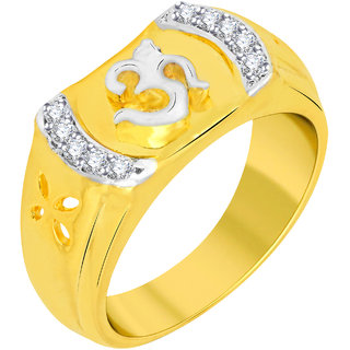 VK Jewels Om Gold and Rhodium Plated Alloy Ring for Men  - FR2293G VKFR2293G18