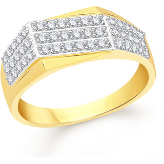 VK Jewels Three Line Gold and Rhodium Plated Alloy Ring for Men Made With Cubic Zirconia - FR2563G [VKFR2563G18]