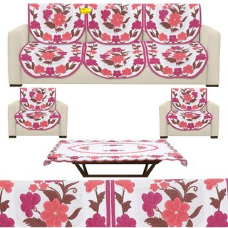Fab Nation Premium 10 Seater Net Polyster Fabric in Excluive Floral Design with Pink and Orange Flower Print Sofa Cover  Matching Centre Table Cover