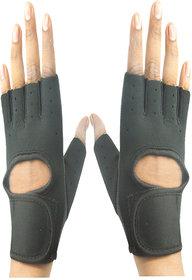 Faynci Leather Gym & Fitness fingerless Gloves for Boys, Men, Women (Free Size,Black)