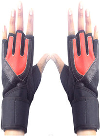 Faynci Bike Riding /Sports / Gym / Weight Lifting / Cycling Gloves  for Boys, Men, Women, color Red/Black.