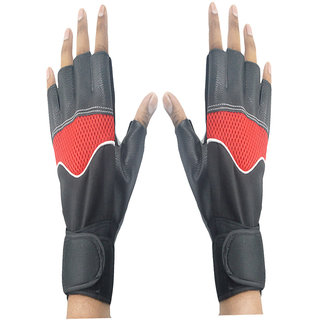 Faynci Leather Bike Riding /Sports / Gym / Weight Lifting / Cycling Gloves  for Boys, Men, Women, color Red/Black.