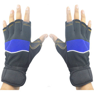 Faynci Leather Bike Riding /Sports / Gym / Weight Lifting / Cycling Gloves  for Boys, Men, Women, color Blue/ Black.